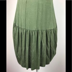 NWT Anthropologie Green Ruffle Back Long Tank Sz S